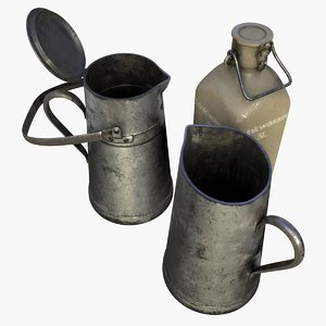 asset drinking containers german 3D model
