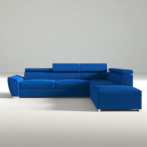 3D sofa navy fabric