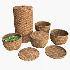 3D assets wicker baskets