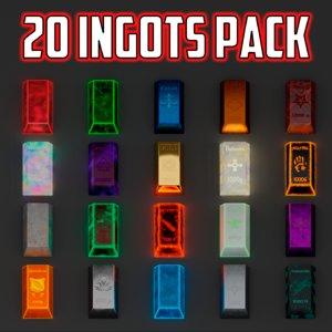 3D model low-poly pack ingot 20
