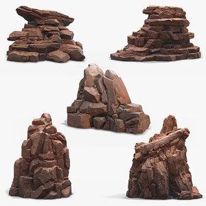 3D rock mossy stone