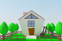 cartoon house and yard 3d model