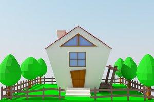 house modeled cartoon 3D