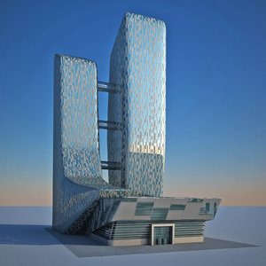 3D modern design organic twin tower model
