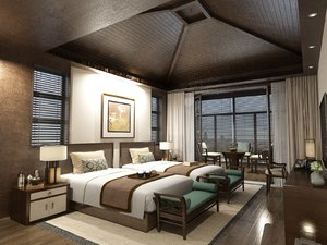 hotel twin room balcony 3D model