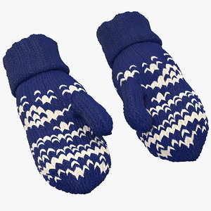 3D model pair blue wool mittens