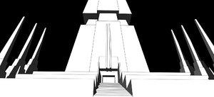 3D model ancient religious temple lost