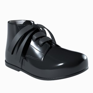 3D black patent leather boots model