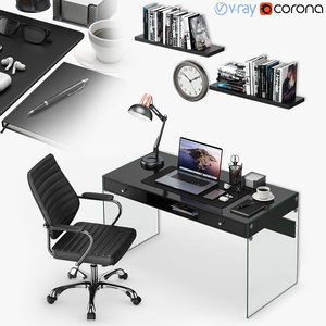 3D workplace macbook 2 books model