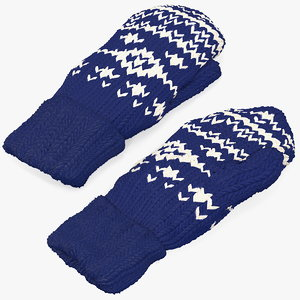 3D knitted blue wool mittens