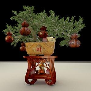 chinese gold ingot gourd 3D