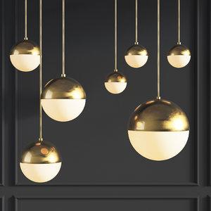 suspension light copper pendant 3D