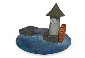 water wheel clock tower 3D model