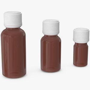 3D glass bottles amber cap
