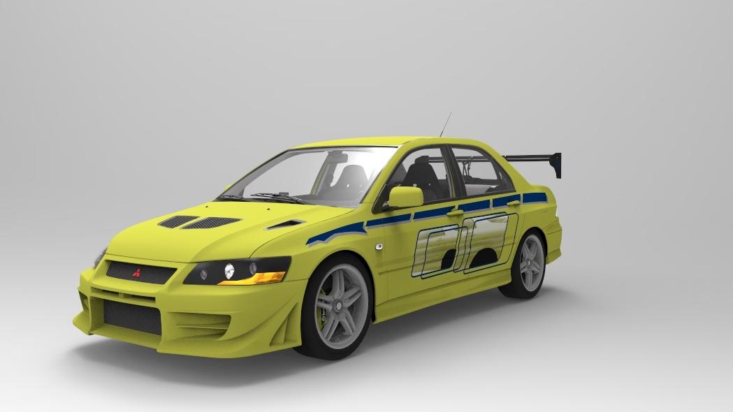 mitsubishi evolution 2 fast 3D model