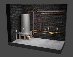 hot water cylinder plumbing 3D model