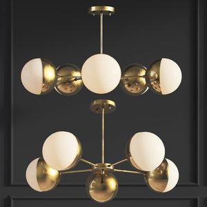 3D suspension light copper chandelier