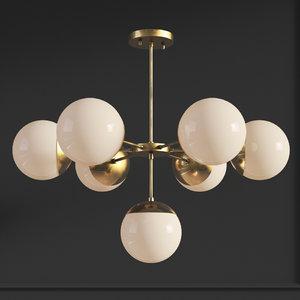 3D suspension light copper chandelier model