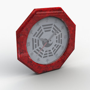 3D feng shui bagua clock model