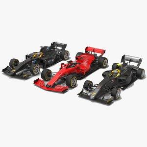 3 formula race cars 3D model