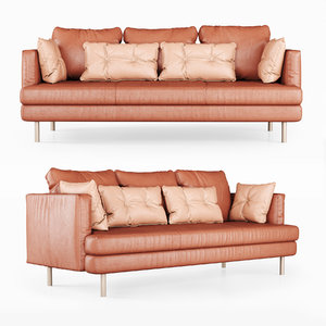 triple leather sofa 3D