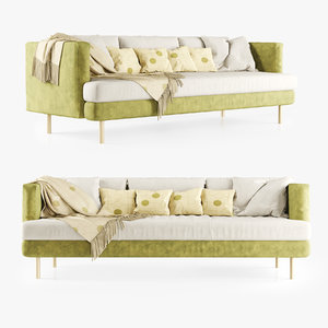 3D model velour triple sofa