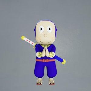 3D cartoon ninja hattori model