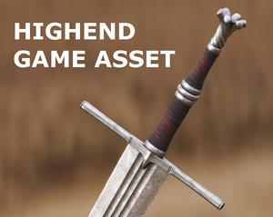 3D two-handed medieval cinematics sword