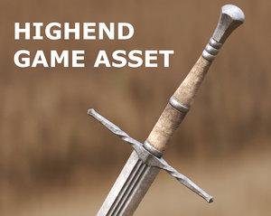 3D two-handed sword cinematics model