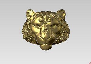 tiger pattern floral 3D model