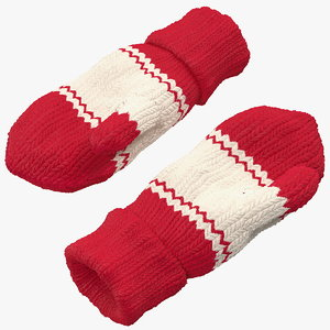 pair red wool mittens 3D