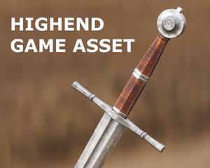 two-handed sword medieval cinematics model