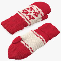 Knitted Red Wool Mittens