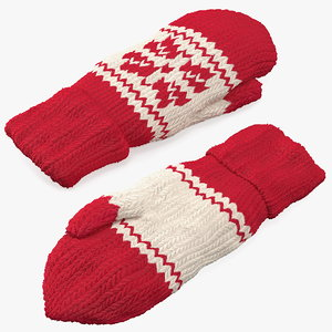 knitted red wool mittens 3D model