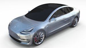 tesla 3 chassis 3D