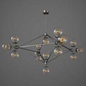 chandelier 15 globes designed 3D model