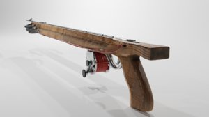 wood gun wooden 3D