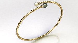 3D bypass bracelet pearls diamonds
