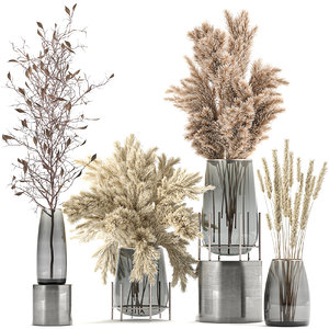 decorative bouquet dried flowers 3D