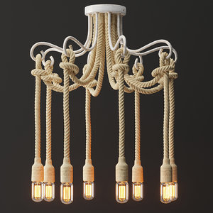 chandelier white rope lamp model