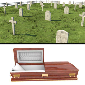 cemetery casket coffin 3D model