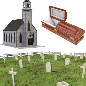 funeral casket coffin model
