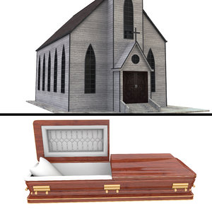 cemetery casket coffin model