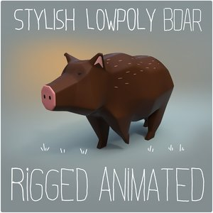 3D boar animation rigged