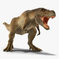 Animated Tyrannosaurus Rex Roaring Rigged for Cinema 4D
