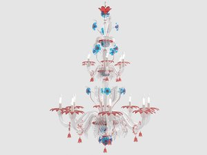3D large murano glass red blue model
