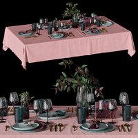 Table setting with eucalyptus