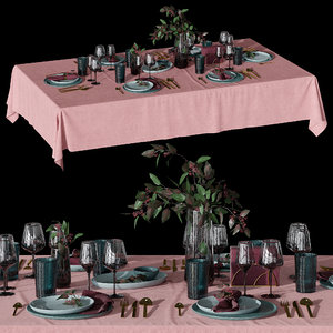 table setting eucalyptus 3D model