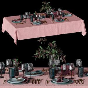 table setting eucalyptus 3D model