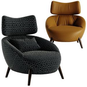 3D natuzzi luna leather chair model
